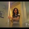 後からトイレ盗撮 白黒ストライプワンピース美女の放尿タイム