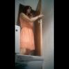 横からトイレ盗撮 可愛らしいドット柄ワンピ美女の中腰放尿シーン