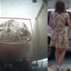 和式トイレ盗撮 後ろから カラフルワンピお姉さんの大量軟便排出