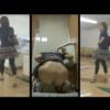 【和式トイレ盗撮】プリケツ丸出しで放尿するシルバーヒールのお姉さん