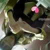 【中華和式トイレ盗撮】メガネの黒パンスト女の子の放尿シーン